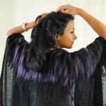 Halle Design stylist exclusive cape black purple poncho zwart paars