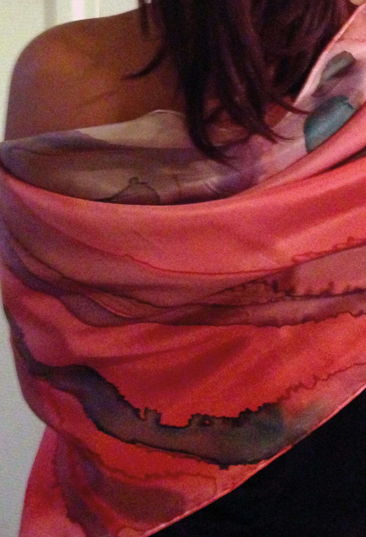 Summertime fashion - Red silk shawl Halle Design