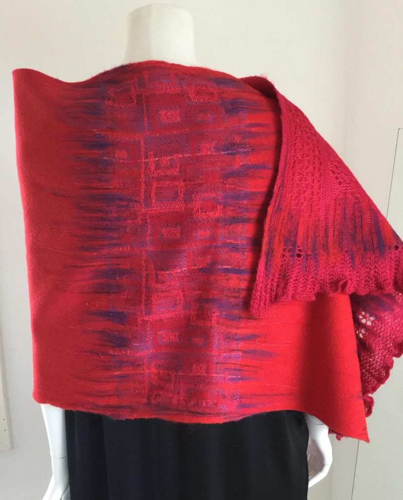 Red shawl textile designs by Halle Design