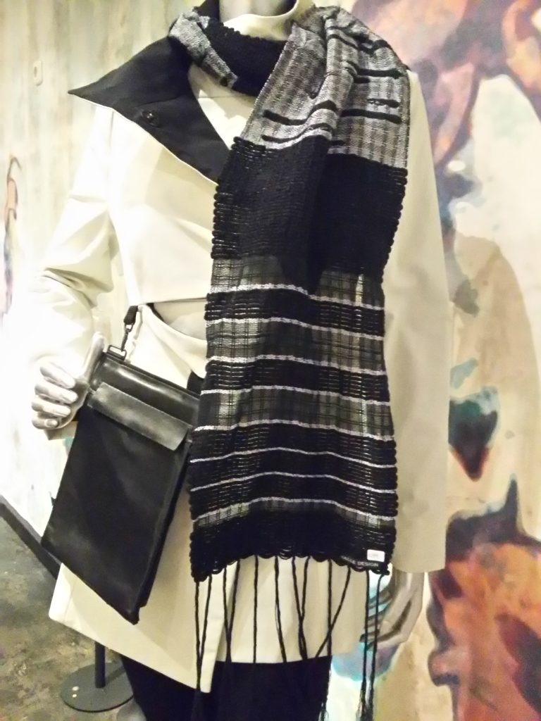 black white hand woven scarf Halle Design