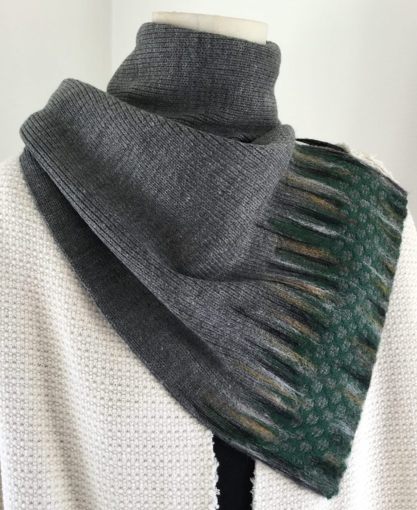 Scarf handmade - grey with green - reused textile Halle Design