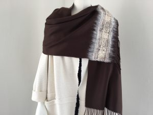 Handmade scarf brown - reused textile Halle Design