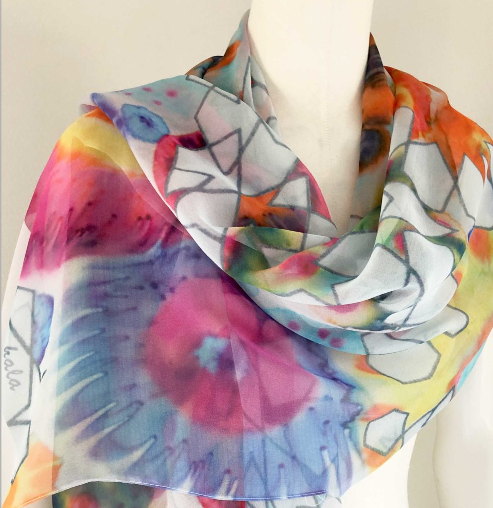 Handmade scarf silk shawl flowers geometric