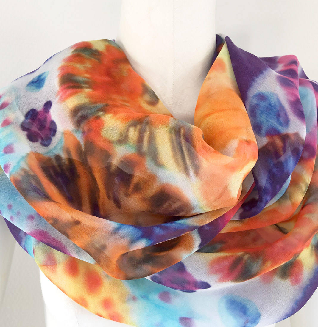 fashion design technique silk shawl long flowers