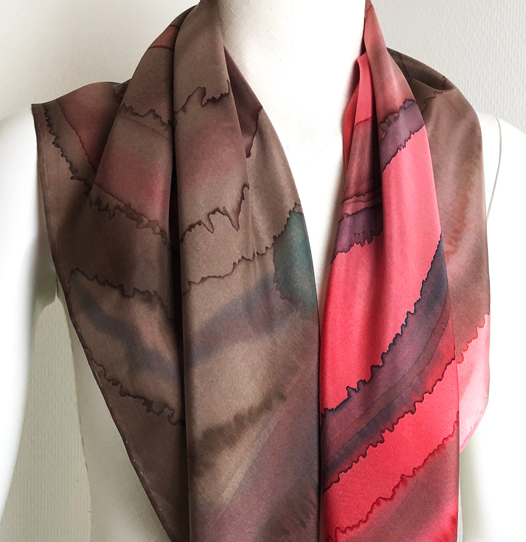 textile design techniques fashion - hand painted silk shawl red