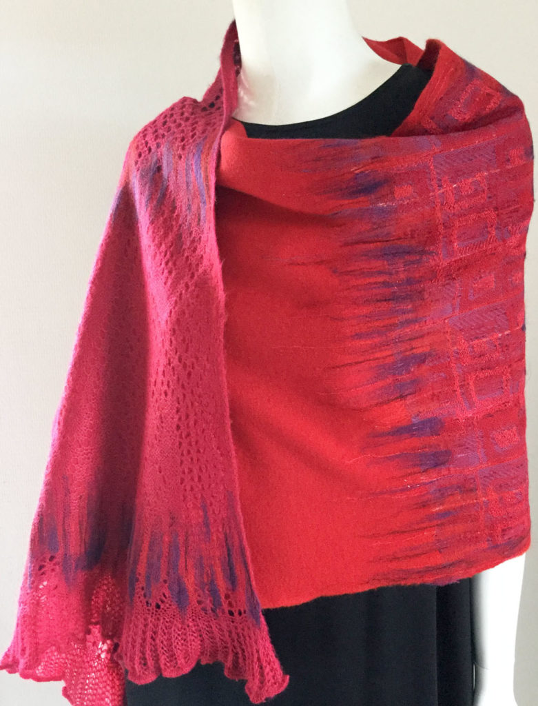 Unique handmade red scarf using Upcycled textile