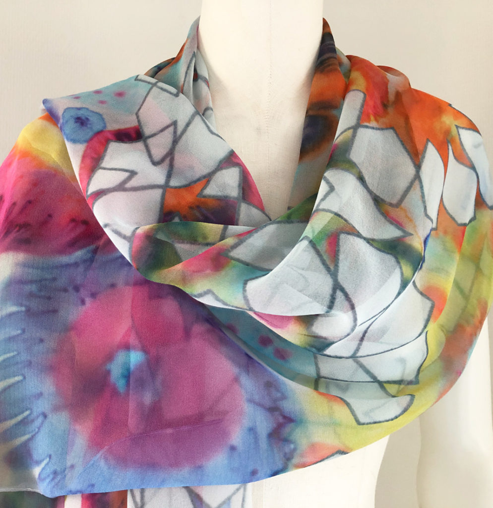 textile design technique hand painting silk shawl flowers geometric