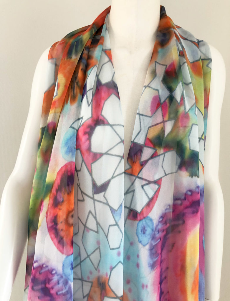 textile design technique silk shawl flowers geometric long