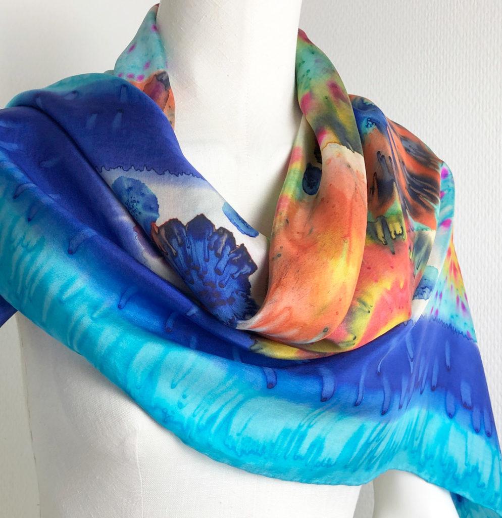 textile designs silk shawl flowers