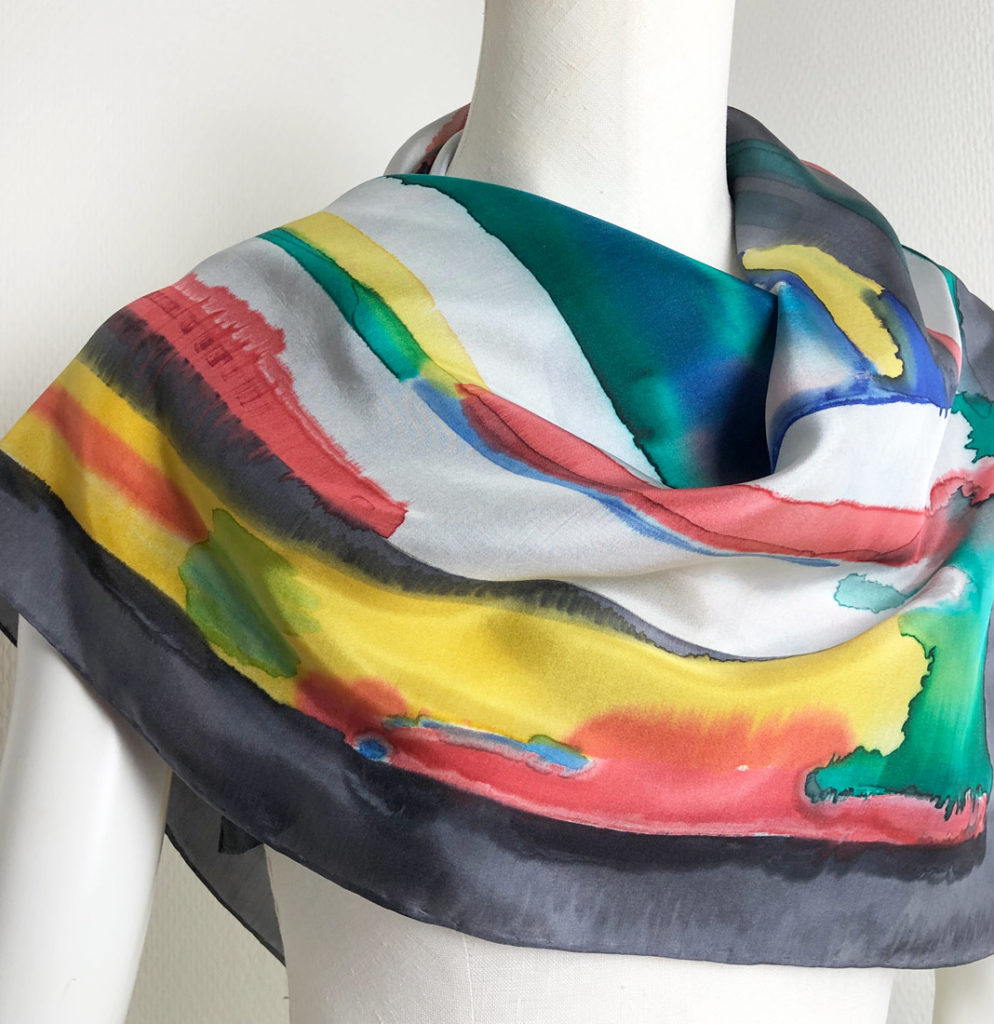 Hand painted silk scarf multi color
