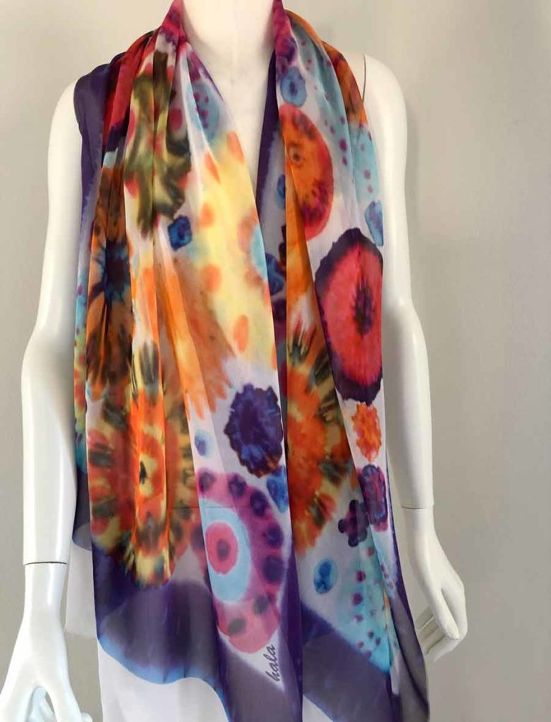 Handmade scarf silk shawl hand painting flowers long