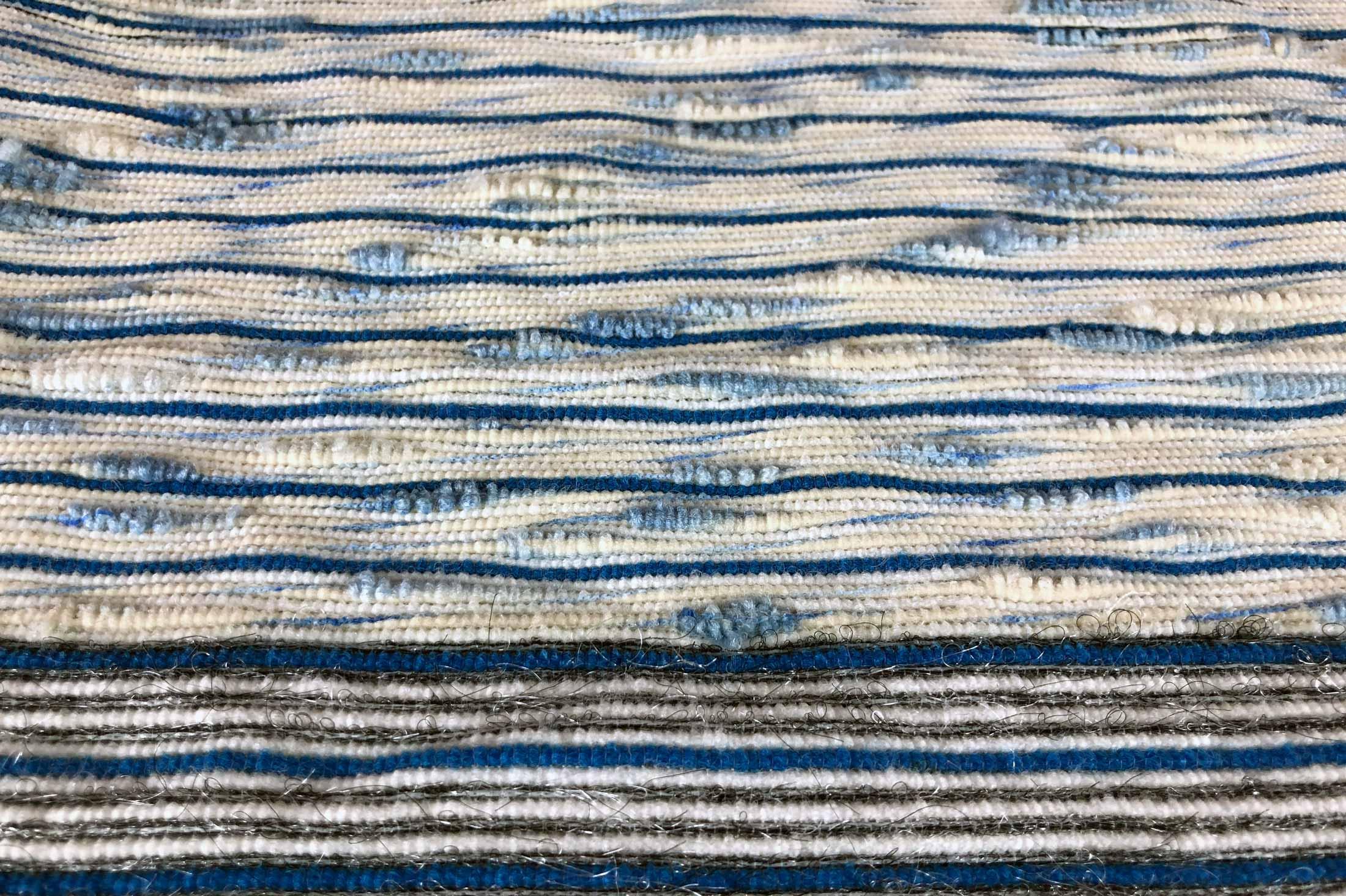 textile design stripes weaving blue white