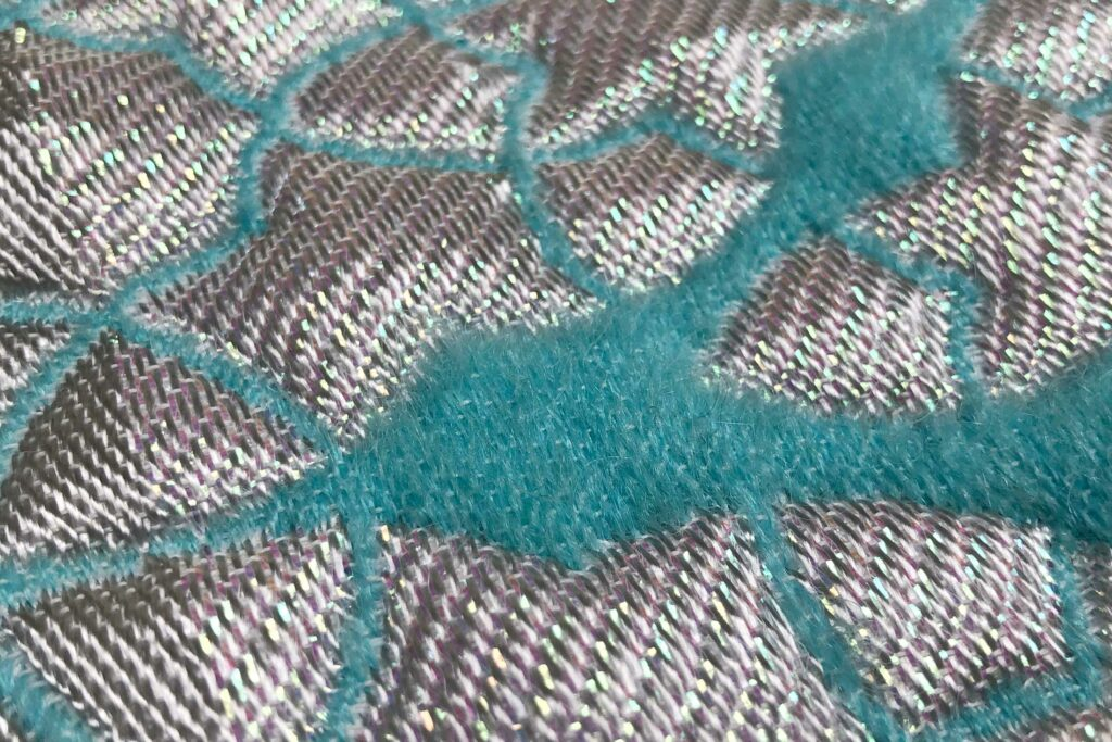 textile design wall hanging turquoise