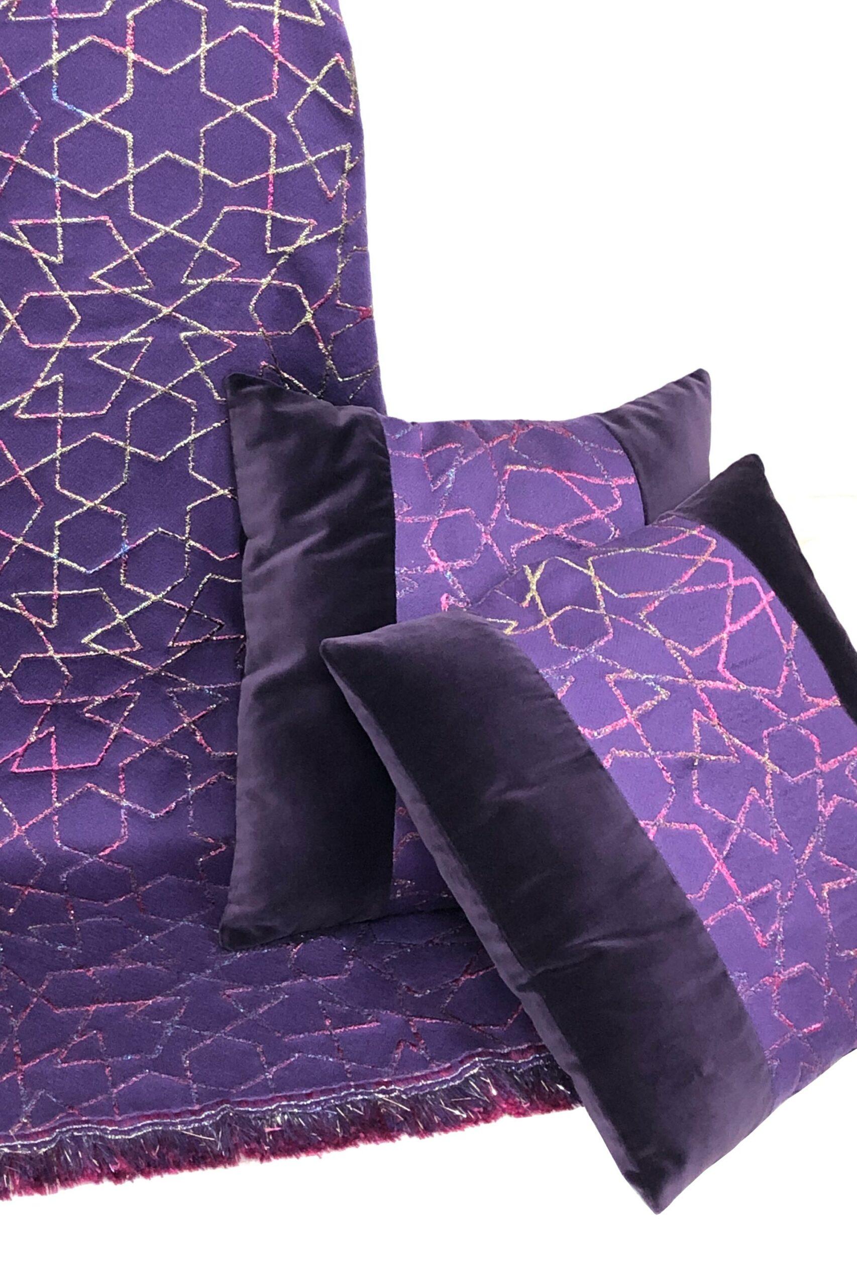 home textile interior design-cushion - wall art - geometric pattern galaxy violet